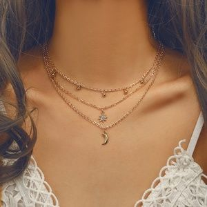 Gold Chain Moon Necklace for Women